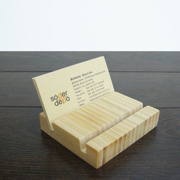 Double Business Card Holder. Bamboo Business Card Holder. Bamboo Card Holder. Wood Card Holder.