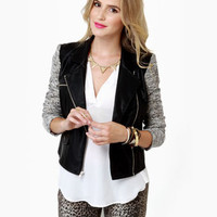 Cute Black Jacket - Moto Jacket - Two-Tone Jacket - $125.00