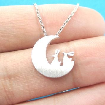 Bunny Rabbit on the Moon Silhouette Shaped Pendant Necklace in Silver | Animal Jewelry