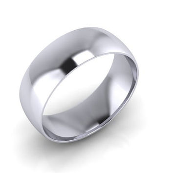 Wedding Band, Solid Gold Wedding Band, 8.00mm 14K White Gold Band, Hand Made Wedding Band, Free Engraving and Shipping, 8.00mm
