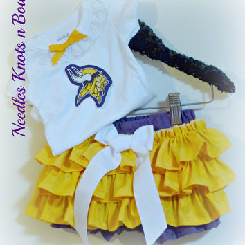 Girls Minnesota Vikings Cheerleader Outfit, Baby Girls Vikings Football Game Day Outfit, Baby Shower, Gift