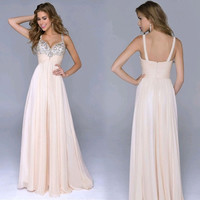 Elegant Women Chiffon Strap V-Neck Sequins High Waist Maxi Party Evening Dress = 1914118020