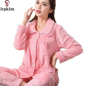2017 Flannel Fleece Winter Women Pajama Sets Pajamas Pijama Pyjama Women Feminino Pijama Mujer Pijamas Entero Pyjamas Sy233