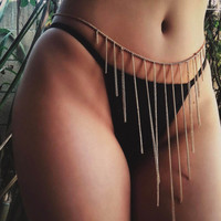Silver/Gold-Color Sexy Boho Metal Tassel Belly Chain Biniki Body Jewelry Charm