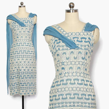 Vintage 50s Embroidered Sheath Dress / 1950s Blue & White Cotton Party Dress with Draped Swag