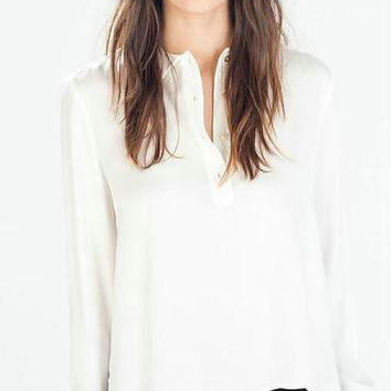Long-Sleeve Button-Up Collared Chiffon Blouse