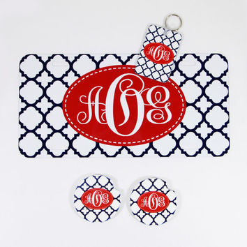 Car Accessories Set Front License Plate License Plate Car Tag Car Coasters Key Chain Set Personalized Custom Monogrammed Car Accessories