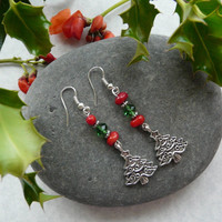 Earrings Christmas Tree Coral Crystal Free Worldwide Shipping