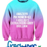 Amazayn, Phenomeniall, Fabulouis, Extraordinharry, Brilliam Fresh-Tops Crew Neck Sweater | fresh-tops.com