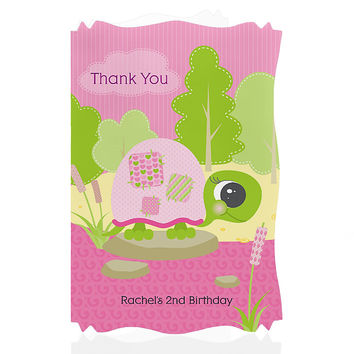 Girl Turtle - Personalized Birthday Party Thank You Cards
