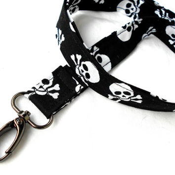 Skull and Crossbones ID Badge Lanyard - Key Chain Lanyard Skulls