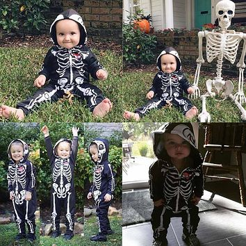 Cool Baby Skull Skeleton Romper Kids Long Sleeve Cotton Jumpsuit Newborn Halloween Party Costumes Infant Clothing Baby Clothes