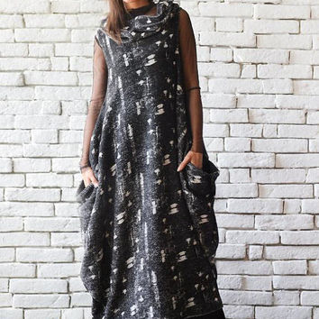 Black Maxi Dress/Oversize Loose Tunic/Sleeveless Kaftan/Plus Size Maxi Dress/Long Loose Dress/Casual Collar Dress/Extravagant Everyday Dress