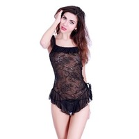 Sexy Spaghetti Lace Mini Dress Sleepwear Babydoll Lingerie Set with Thong (Black)