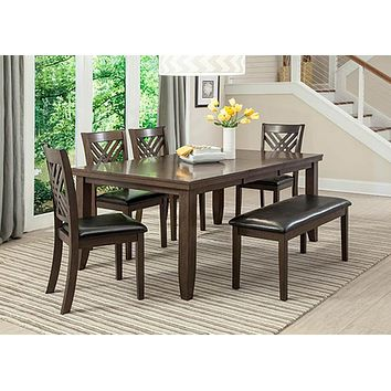 C1632D-7PC Dark Brown Dining Table & 6 Chairs