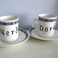Nerd Dork coffee set by trixiedelicious on Etsy