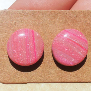 Pink shimmer polymer clay and resin stud earrings on surgical steel posts for sensitive ears