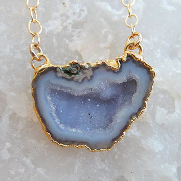 Geode Half Druzy Cave Necklace 24K Gold Gray Blue Drusy Crystal Pendant Gold Filled Chain - Free Shipping OOAK Jewelry