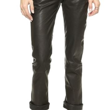 Paige Denim Jimmy Jimmy Crop Leather Pants