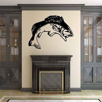 Bass Fish Silhouette Vinyl Wall Decal Sticker Graphic