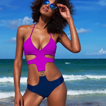 Purple and Navy Buckle Monokini