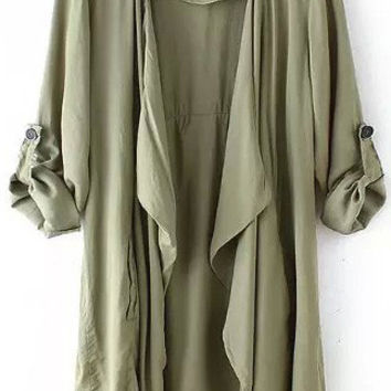 Fashionable Long Sleeve Asymmetric Chiffon Kimonos Coat