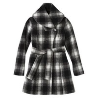Merona® Women's Plaid Shawl Collar Coat -Black