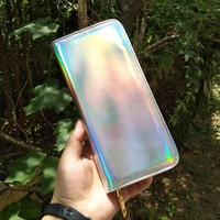 Hologram Wallet Women Handbag Holographic Leather Laser Wallets Ladies Long Wristlet purses and handbag Female Coin Girl Purse