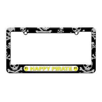 Happy Pirate - Funny - License Plate Tag Frame - Skull and Crossbones Design
