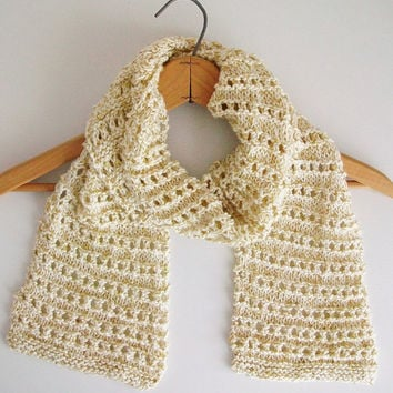 Gold Cream Knitted Scarf Glittery Long Lace Scarf Merino Wool Scarf Retro Romantic Style
