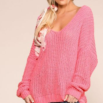 Feeling Good Pink Oversize Knit Sweater