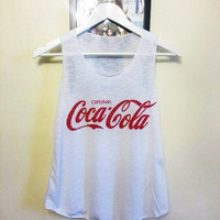 Coca Cola White T shirt Vest US size 2-4 UK size 6-8