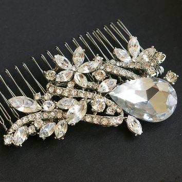Rhinestone Hair Comb Vintage Bridal Hair Comb GEMMA by luxedeluxe
