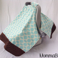 infant- baby- girl- boy- gender neutral- Aqua and Cream Floral Trellis and Chocolate Brown Minky Trimmed Carseat Cover -carseat canopy