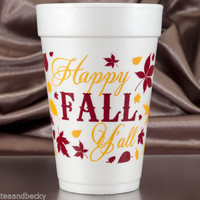 Thanksgiving Cups Happy Fall Y'all 16 oz Foam Cups - 60 Set Brown & Yellow Ink