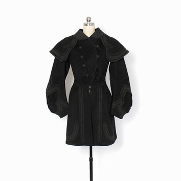 Victorian Winter COAT / Vintage 1890s Black Wool Capelet Collar Dramatic Sleeve Jacket XS - S