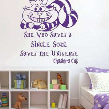 ik2582 Wall Decal Sticker Alice in Wonderland Cheshire Cat quote bedroom children's room