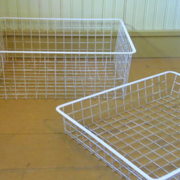 FREE SHIPPING - Wire Baskets/Vintage Metal Baskets/Locker Baskets/Storage Baskets/Containers