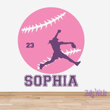 Girl Sports Softball Custom Vinyl Name Decal Nursery Monogram Kids Room - Sports Decal - Wall Name Decal Childrens Boys and Girls  Decor
