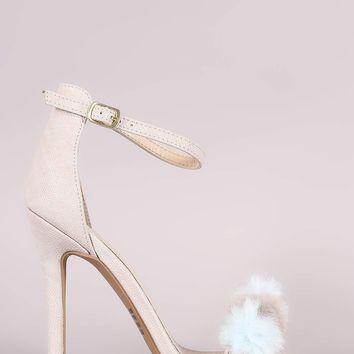 Qupid Lizard Pom Pom Band Ankle Strap Stiletto Heel