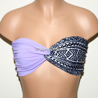 Lilac and Aztec Tribal Twisted Bandeau, Tribal Swimwear Bikini Top, Spandex Bandeau Bikini