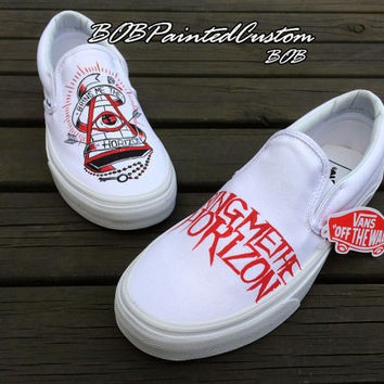 Amazing Present for Men Women Hand Painted White Slip On Vans Shoes Fashion Shoes Water-Resistant Paints