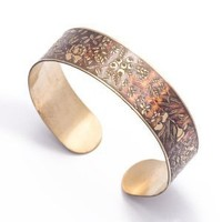 Gold brass vintage womens floral embossed bracelet bangle cuff by 81stgeneration: Jewelry: Amazon.com