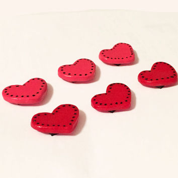 Heart Magnets - Polymer Clay Magnet - Pink Heart Magnet - Red Heart Magnet - Small Magnet - Refridgerator Magnet - Love Magnet