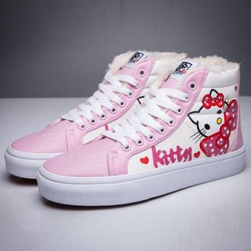 DCCKBWS Trendsetter VANS X Hello Kitty SK8-Hi Flats Ankle Boots Sneakers Sport Shoes