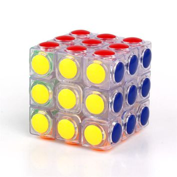Eva2king Transparent Magic Cube 3x3x3 Speed Puzzle Cube Game Dot Shape Cubos Magicos Professional Puzzle Game Toys Gifts Cubo