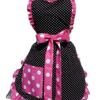 Black and White with Pink and Polka Dots Apron