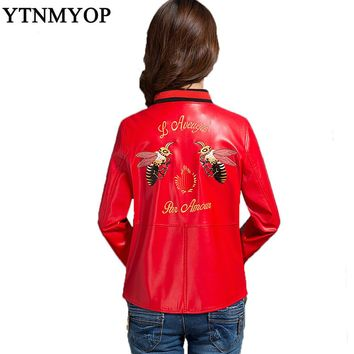 Faux Leather Coat 2017 New Spring Embroidery Leather Jacket Women Outerwear Plus Size Fashion Leather Clothing