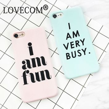 Letter Print Frosted Hard PC Case For iPhone