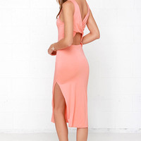 Knot What it Seems Peach Midi Dress